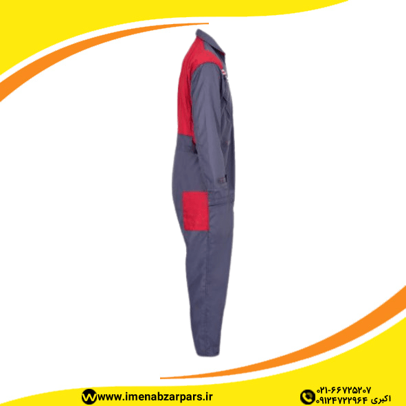 لباس کار یونکس یکسره طوسی قرمز